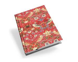 Bilde av Notatbok A6, strawberry thief rød av William Morris